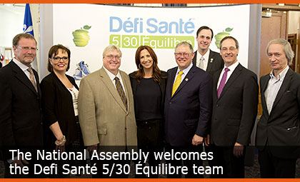 The National Assembly welcomes the Defi Santé 5/30 Équilibre team