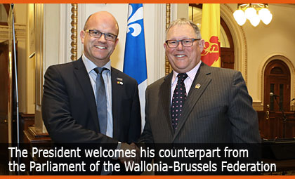 The President welcomes his counterpart from the Parliament of the Wallonia-Brussels Federation