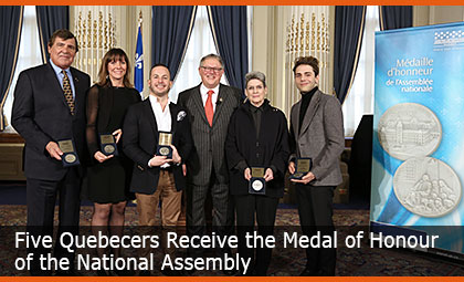 Five Quebecers Receive the Medal of Honour of the National Assembly