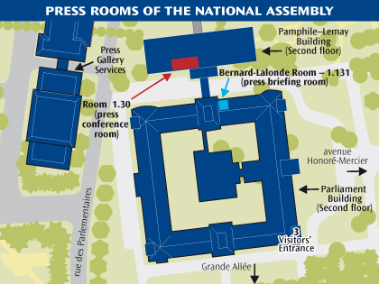 Location of the National Assembly's press conference rooms