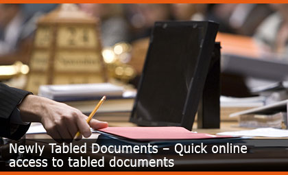 Newly Tabled Documents – Quick online access to tabled documents