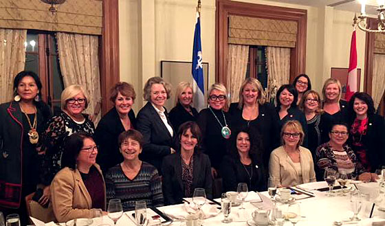 Dinner and discussions with the new Chair of the Conseil du statut de la femme, Eva Ottawa.