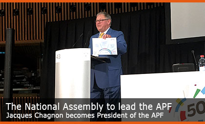The National Assembly to lead the APF - Jacques Chagnon becomes President of the APF