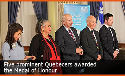 Five prominent Quebecers awarded the Medal of Honour