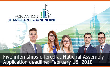 Five internships offered at National Assembly – Application deadline : February 15, 2018