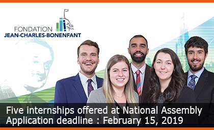 Five internships offered at National Assembly - Application deadline : February 15, 2019