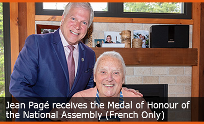 Jean Pagé receives the Medal of Honour of the National Assembly