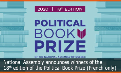 National Assembly announces winners of the 18th edition of the Political Book Prize
