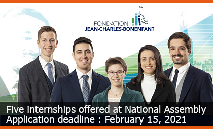 Five internships offered at National Assembly - Application deadline : February 15, 2021