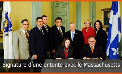 Signature d'une entente avec le Massachusetts