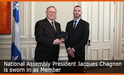 National Assembly President Jacques Chagnon is sworn in as Member