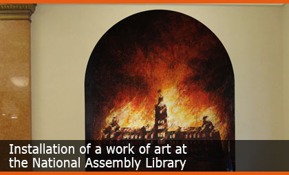 Installation of a work of art at the National Assembly Library