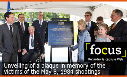 Unveiling of a plaque in memory of the victims of the May 8, 1984 shootings